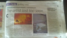Press Coverage: The Chrisopher Andrews Retrospective in Metro (2013)